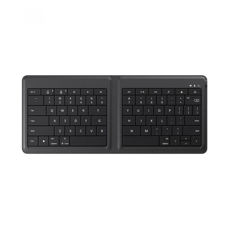 Teclado Microsoft Universal Foldable color negro; el teclado plegable universal es el compañero de viaje perfecto su diseño ultra delgado ligero y compacto le permite llevarlo fácilmente donde quiera que vaya para que pueda hacer más en su tableta o tel
