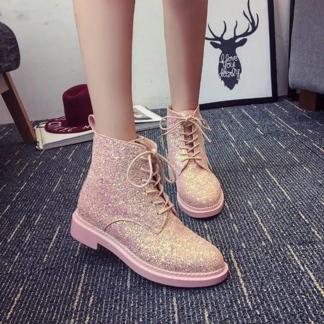 White/Black/Pink Pastel Punk Glitter Martin Boots SP179077