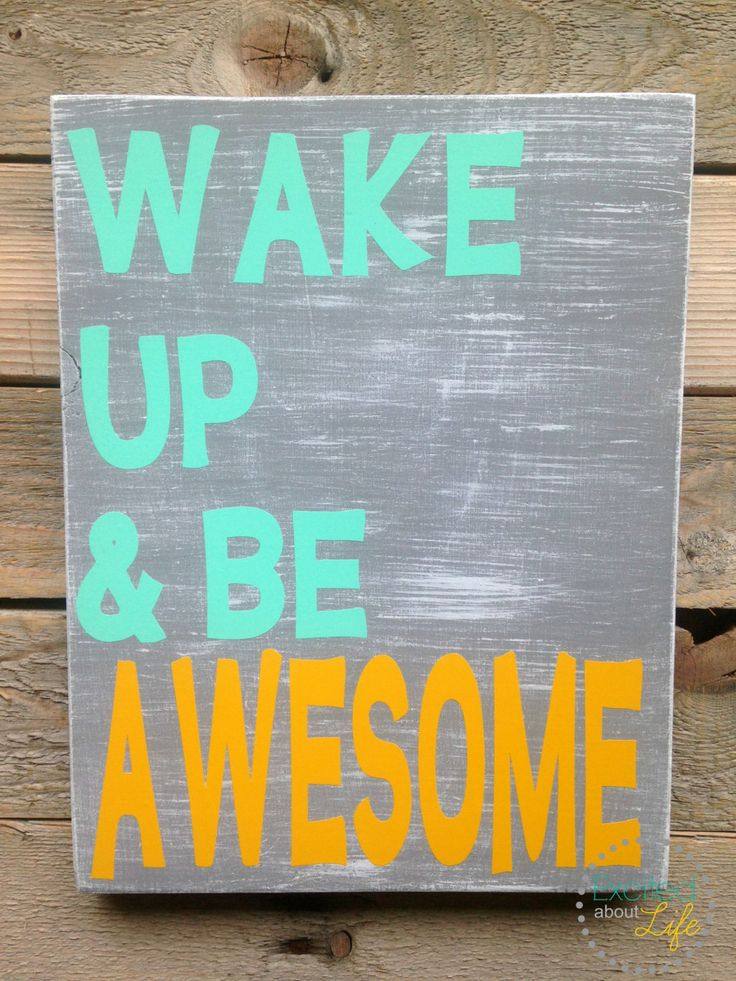 Items Similar To Teal Yellow Gray Decor Wake Up And Be Awesome. Bathroom Or Bedroom  Decor.