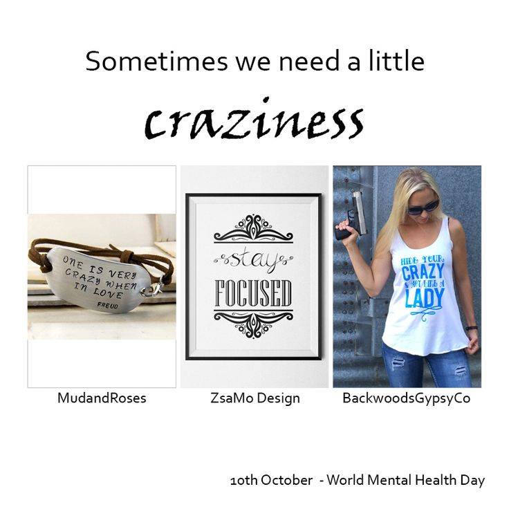 10th October is the World Mental Health Day, but sometimes we need a little craziness.Bracelet: https://www.etsy.com/…/126135607/hand-stamped-bracelet-quot…Printable poster: https://www.etsy.com/…/stay-focused-motivation-printable-po…Tank top: https://www.etsy.com/…/hide-your-crazy-and-act-like-a-lady-…