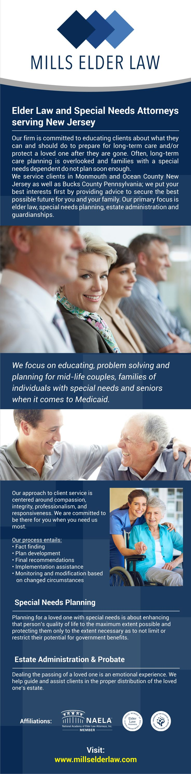 Our firm is committed to educating clients about what they can and should do to prepare for long-term care and/or protect a loved one after they are gone. Often, long-term care planning is overlooked and families with a special needs dependent do not plan soon enough.  We at Mills Elder Law service clients in Monmouth and Ocean County New Jersey as well as Bucks County Pennsylvania; we put your best interests first by providing advice to secure the best possible f