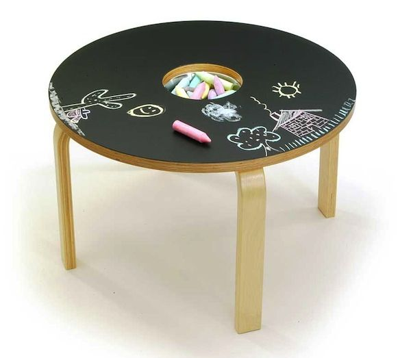 Use an Ikea table, cut a whole, paint with your choice of chalk paint, put a bowl with chalk, and you have a under $20 dollar entertainment center for your kids. So neat!