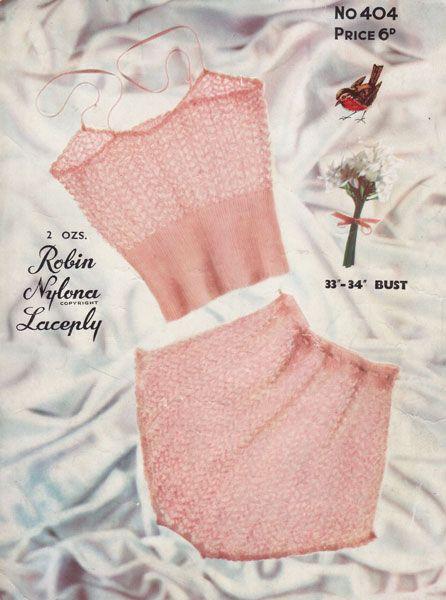 vintage ladies underwear knitting pattern, 1950s