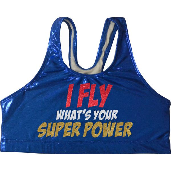 I Fly Whats Your Superpower Metallic Sports Bra Cheerleading Cheer... ($25) ❤ liked on Polyvore featuring activewear, sports bras, black, women's clothing, black sports bra, sports bra, metallic sports bra and athletic sportswear