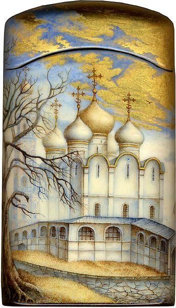 """Fedoskino. Russian Lacquer Art Titled """"The Cathedral of Our Lady of Smolensk Icon"""" Artist Alexey Chirkov (FRONT)"""