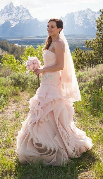 Vera Wang Blush Wedding Dress | Heather Erson Photography