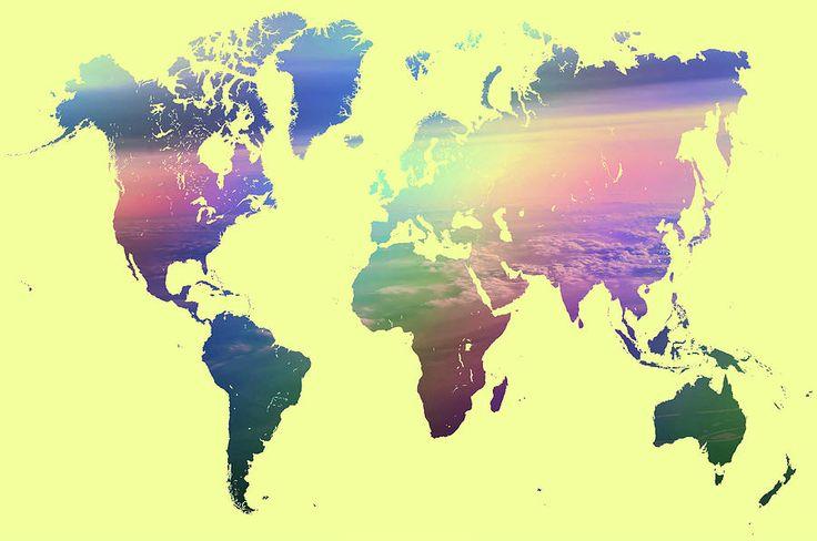 Rainbow World Map. Yellow Version Photograph by Jenny Rainbow