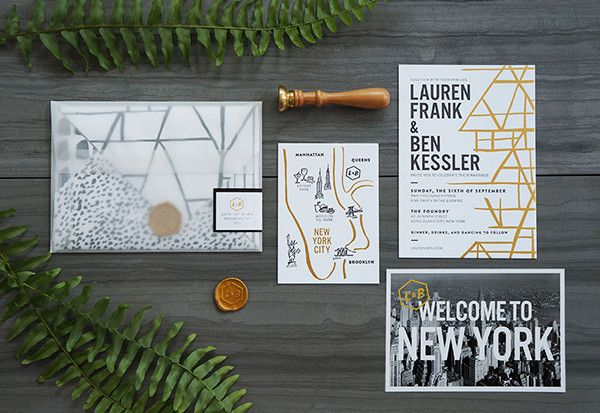 Show off your event's real estate with a chic wedding invitation suite, like this black and gold design for a destination wedding in New York City.
