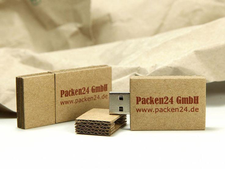 Ein USB-Stick Gehäuse aus Wellpappe, geht das? - Selbstverständlich! Und es ist ein einzigartiges Werbegeschenk, bedruckt mit einem Logo