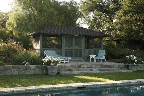 shed for Ojai  Pamela Burton Designs: Poolsid Cabanas, Screens Houses, Ojai California, Gardens Houses, California Gardens, Outdoor Gardens, Gardens Design, Pools Houses Screens, Screens Pools