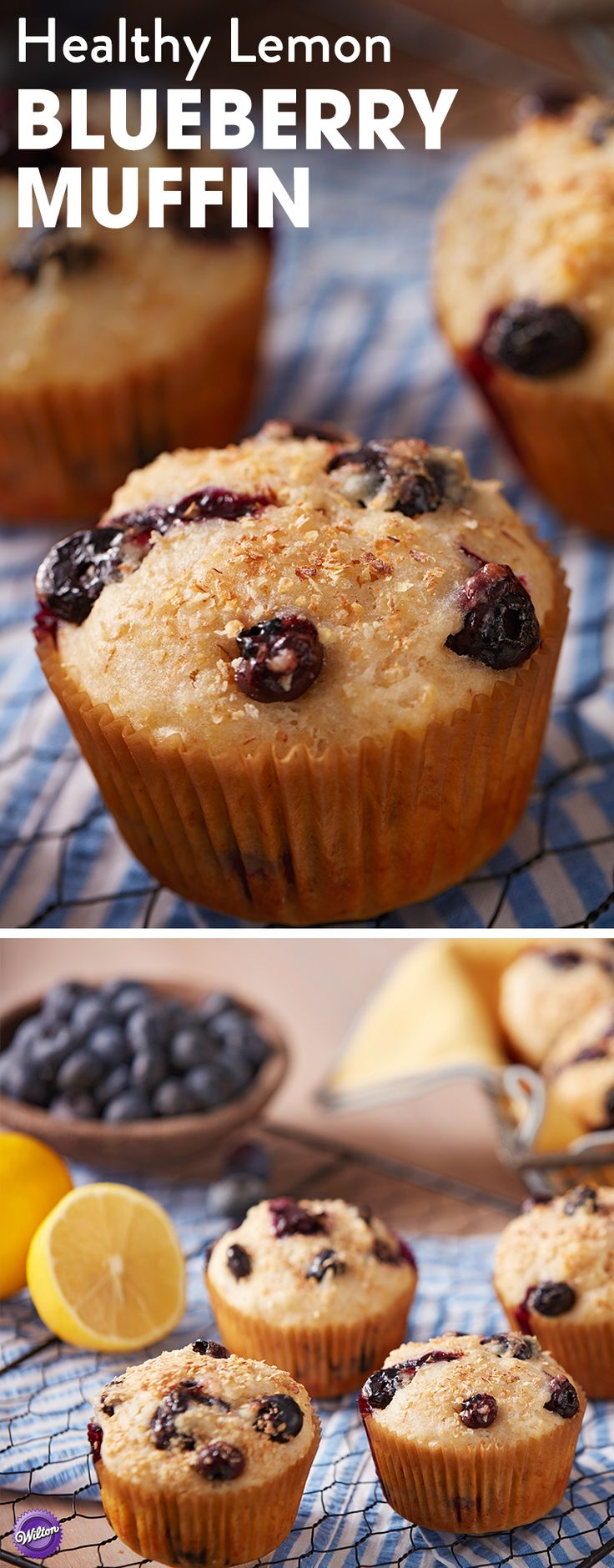 Lemon Blueberry Muffin Recipe - Packed full of wheat germ, agave nectar, low-fat buttermilk and tasty blueberries, these Healthier Lemon Blueberry Muffins offer a better-for-you option for a quick breakfast on the go. Best of all, these muffins taste so good that no one will know that they're packed full of goodness! Indulge your cravings without the guilt with these tasty and delicious lemon blueberry muffins.