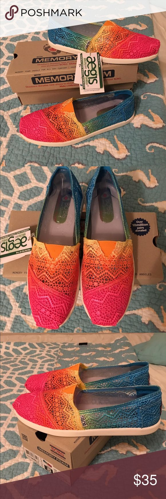 Tye Dye BOBS shoes NWT!  Brand new with tags. Sketchers BOBS slip on shoes size 8. Crochet Tye dye print. Super cute!! Perfect for festivals and summer. They are just too small for me. Skechers Shoes Sneakers