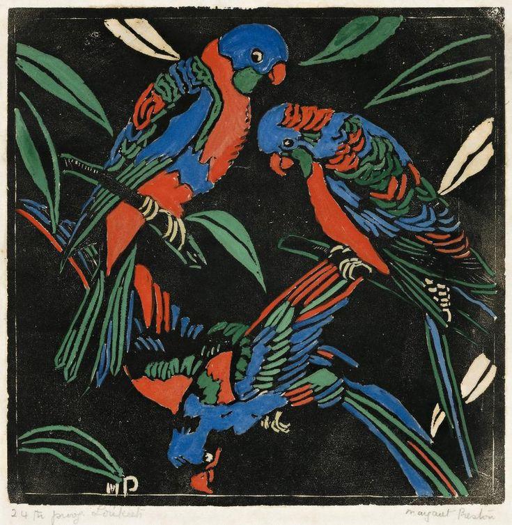 Margaret Preston (Australian, 1875-1963), Lorikeets, 1925. Hand-coloured woodcut
