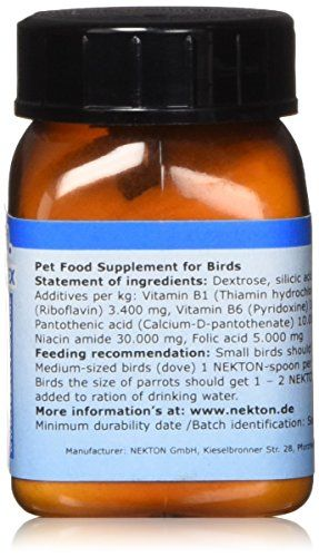 Nekton B-Komplex B Vitamin Bird Supplement, 35gm:   Nekton-B-Complex is a B vitamin supplement for all birds. B vitamins are vital catalysts in the metabolization of carbohydrates, fats and proteins. The B vitamins in Nekton-B-Complex have been added in a ration to support and enhance each other. Nekton-B-Complex is useful when a bird is being treated with antibiotics or sulfonamides, are being recaged or transported, are recovering from illness or suffering from stress in general. Nek...