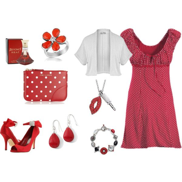 Plus Size Red and White Dress