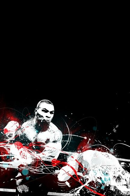 """""""Iron Mike by Fatoe"""" by Mike Orduña, Los Angeles  /  310 // In respect to my favorite sport - vector & painted chaotic mess expressing fluid motion and impact with a select color high-lights to reflect a sense of drama. // Imagekind.com -- Buy stunning, museum-quality fine art prints, framed prints, and canvas prints directly from independent working artists and photographers."""