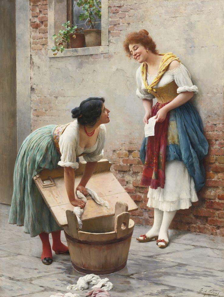 Eugen von Blaas (or Eugene de Blaas) - (italian - austrian, 1843-1931) - Sharing the news - by Sotheby's