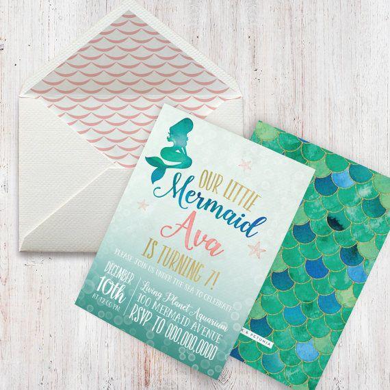 27 best petite party studio invitations images on pinterest mermaid birthday party invitation little mermaid birthday party invitation lined envelopes solutioingenieria Images