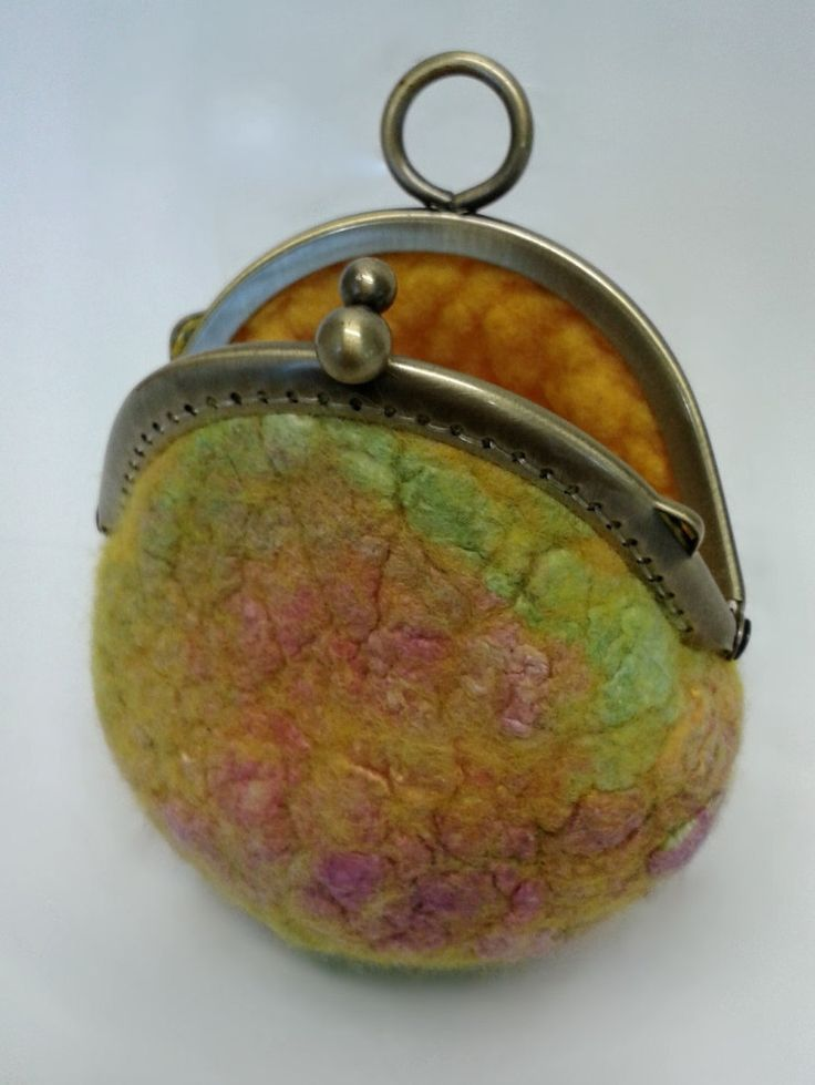 Wool felt small purse with silk detail using hand dyed Australian merino wool 11264 Yellow Green by Feltedfibres on Etsy
