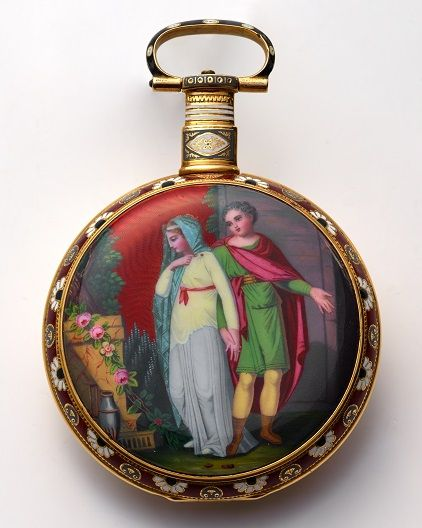 """Edouard Juvet """"Titus & Berenice"""" fine and rare center seconds, gold champleve and painted on enamel pocket watch with duplex escapement. Offered in Antiquorum's Jun 27 auction with a pre-auction estimate of HKD 250,000 -340,000."""