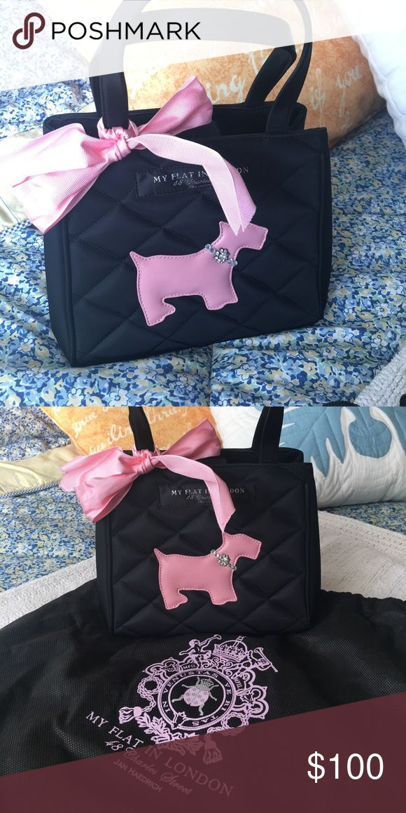 My Flat in London Scottie Dog Handbag This adorable My Flat in London is a classic, with the pink Scottie and quilted exterior. It is a snap tap closure with one zippered compartment inside. Very gently used ... only a few times. My Flat in London Bags Mini Bags
