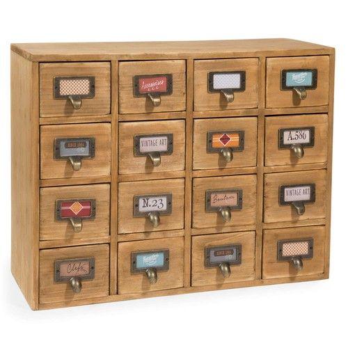 St Maximin - Casier 16 tiroirs en bois H 35 cm