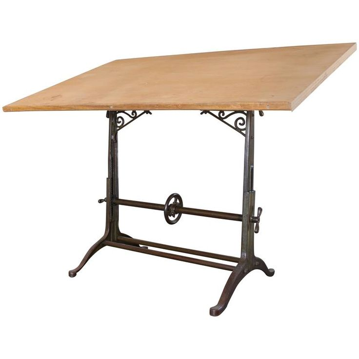Antique Drafting Table Ornate Vintage Industrial Tilt-Top Cast Iron and Wood 1