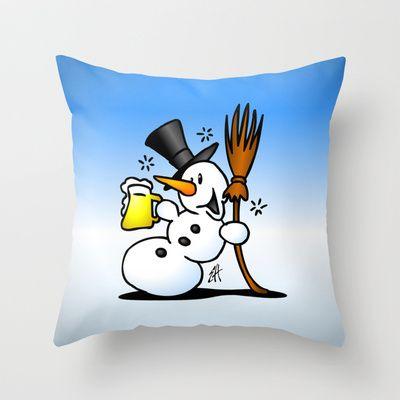 Snowman drinking a beer throw pillow. #Society6 #Cardvibes #Tekenaartje #winter #snow #apresski