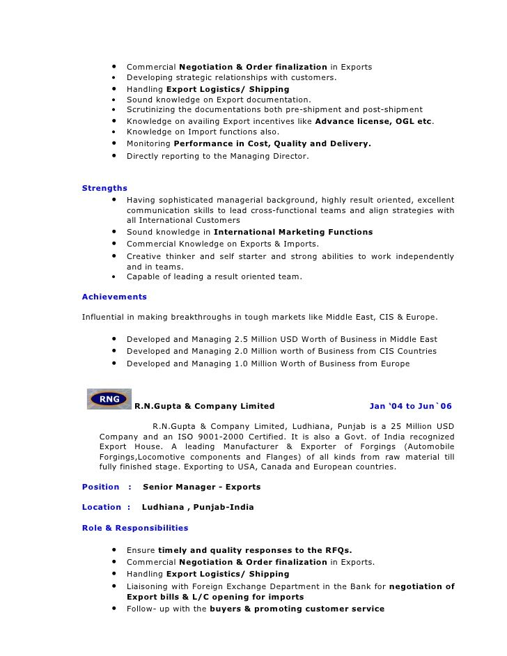 Magnificent Shipping Documentation Resume Format Contemporary ...