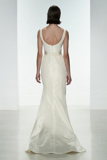 """Amsale """"Cate"""" gown back. Faile De Soie scoop neck fit to flare gown with low back."""