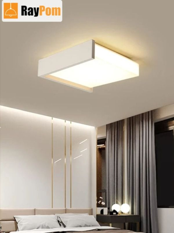 Black White Square Minimalism Simple Led Ceiling Lights For