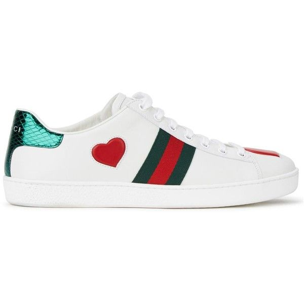 Womens Low-Top Trainers Gucci Ace Heart-appliquéd Leather Trainers (1.361.780 COP) ❤ liked on Polyvore featuring shoes, sneakers, round toe sneakers, gucci trainers, rubber sole shoes, low profile sneakers and lace up sneakers