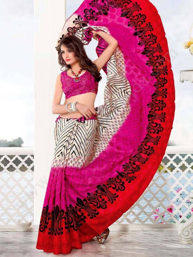 Бежевое и розовое и цвета кардинал индийское сари из хлопка, украшенное печатным рисунком
