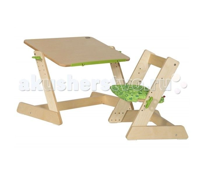 TCT Nanotec Комплект из дерева Q-momo (парта, стул)  TCT Nanotec Комплект из дерева Q-momo (парта, стул) для малышей. Вы можете установить столешницу в горизонтальном или наклонном положении. Удобная выдвижная линейка поможет удерживать различные предметы, книжки, альбомы для рисования.  Сиденье и спинка стула изменяются по высоте.  Стул из дерева для малышей Q-momo предназначен для детей ростом от 85 до 120 см. Стул покрыт специальным не токсичным лаком. Вся мебель сертифицирована и…