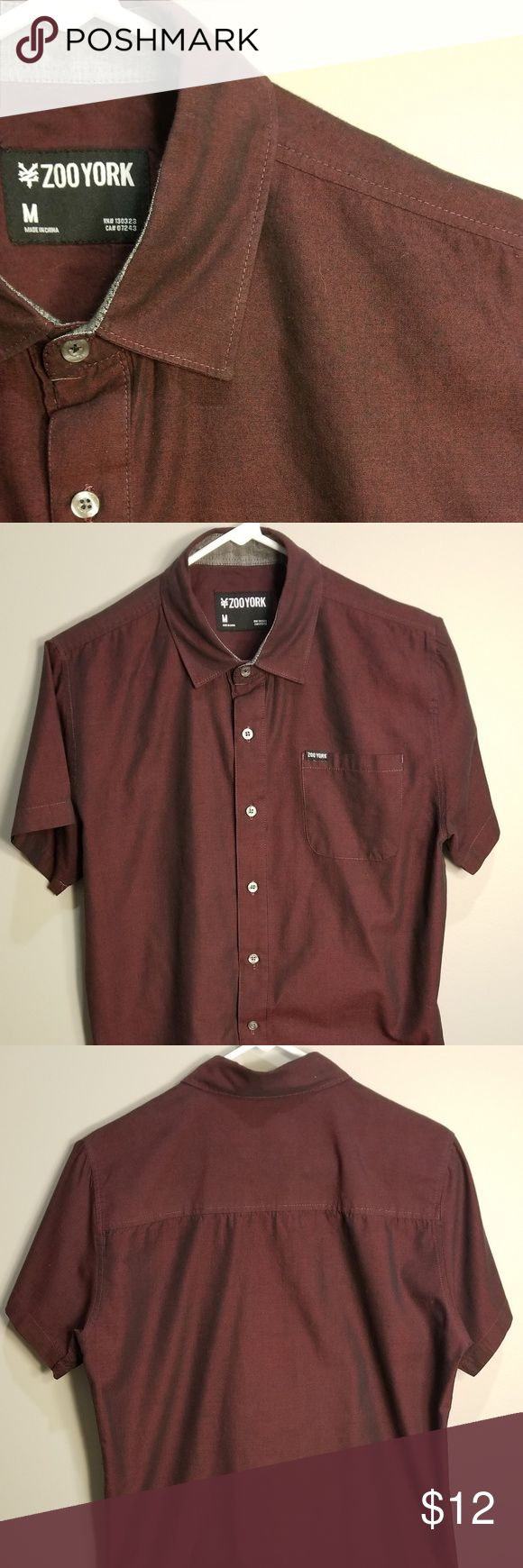 Zoo York Short Sleeve Button Down Great used condition! Burgundy metallic color Zoo York Shirts Casual Button Down Shirts