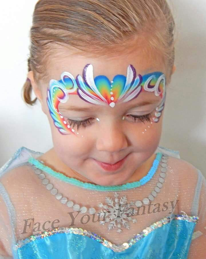 Rainbow princess fairy face painting