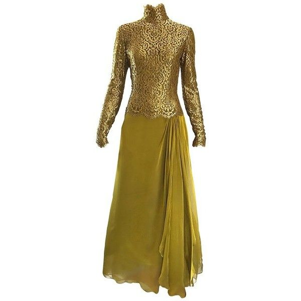 Preowned Vintage Bob Mackie Amazing Chartreuse Green + Gold Silk... (£1,825) ❤ liked on Polyvore featuring dresses, gowns, evening gowns, green, vintage gowns, green ball gown, vintage ball gowns, gold evening dresses and lace evening gowns