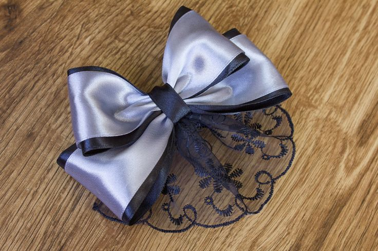bow of satin ribbon and lace with his own hands beautiful hair clip Video Tutirial by Kulikova Anastasiya https://www.youtube.com/watch?v=IbzCowAkkmc