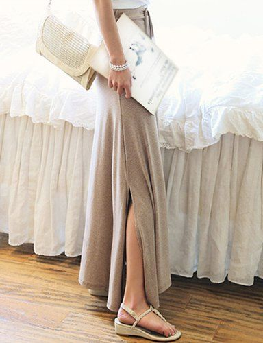 Simple Elegant Cotton Solid Color Ankle-Length Skirt For Women