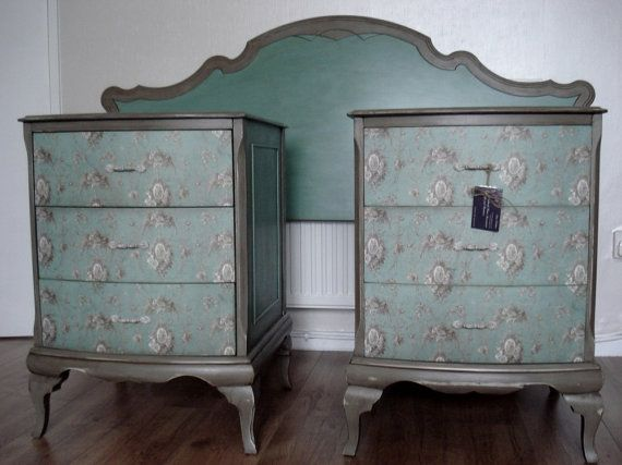 shabby chic style furniture. sold pair of gorgeous upcycled shabby chic style queen anne bedside tables and double headboard furniture k
