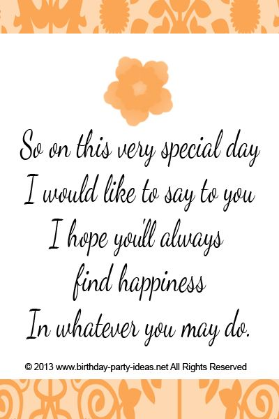 So on this very special day I would like to say to you I hope you'll always find…