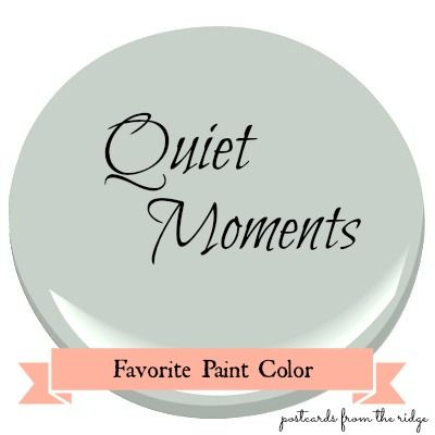 Favorite Paint Color ~ Benjamin Moore Quiet Moments Quiet Moments is a very soft, muted gray with a hint of blue and a tiny touch of green. In the dining room above, it's a nice cool complement to the warm wood tones in the room. And it's a great backdrop for the art collection on the far wall.