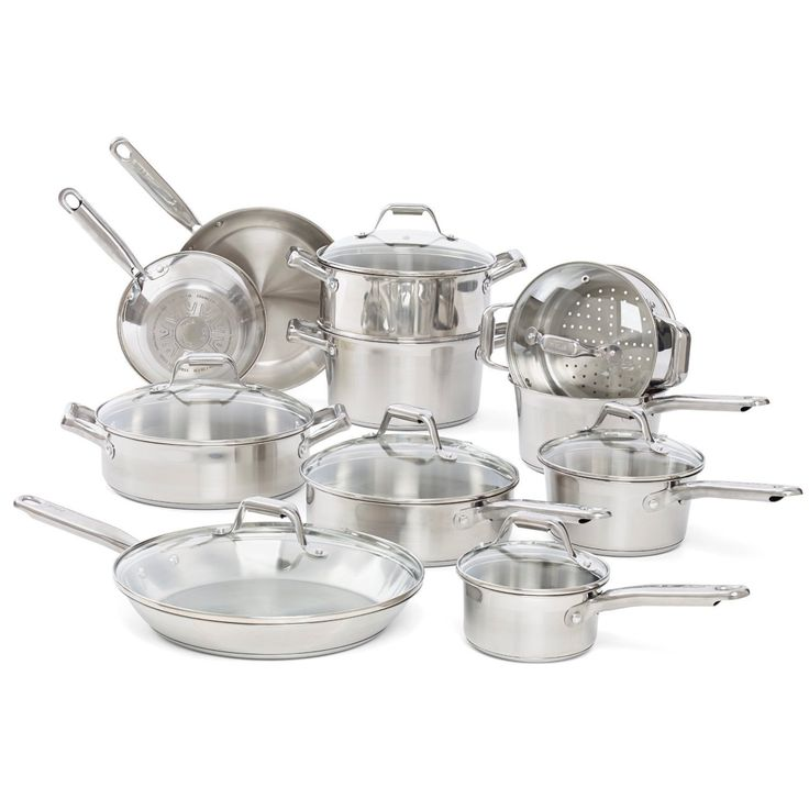 If you're serious about starting a cookware collection, look no further than this T-Fal Elegance 18-piece set. You'll love the mirror finished scratch-resistant stainless steel composition and shimmering appearance.