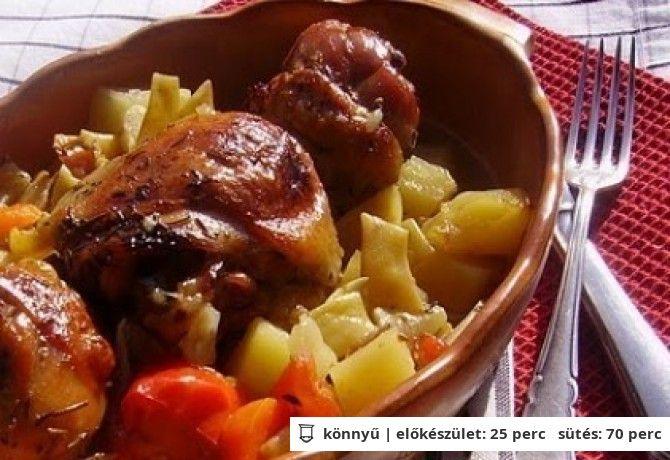 Cserépben sült zöldséges-fehérboros csirke