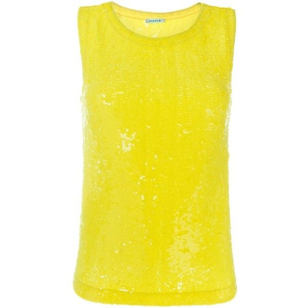 P.A.R.O.S.H. sequinned tank ($229) ❤ liked on Polyvore featuring tops, yellow, sequin tank, yellow tank top, yellow top, sequined tops and yellow tank