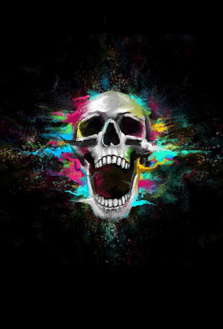 Skull & color art Skull wallpaper, Unique iphone wallpaper