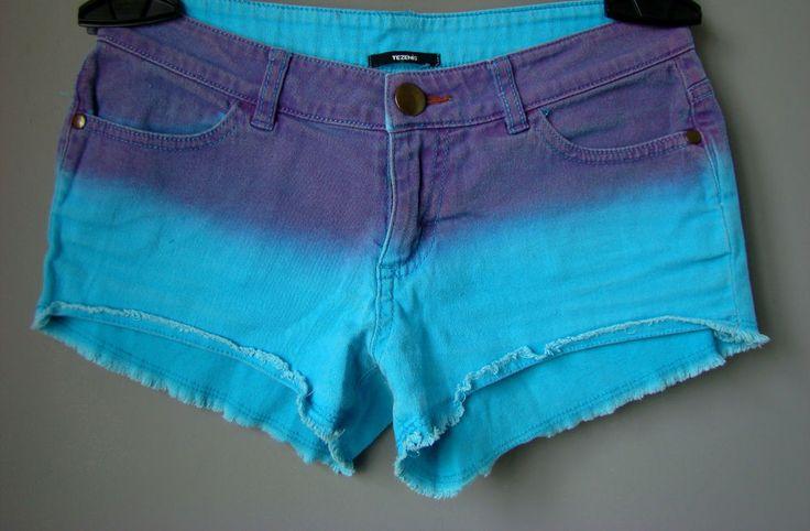 Shorts JEANS denim donna PANTALONI CORTI turchese blu pantaloncini S 40 42 mini