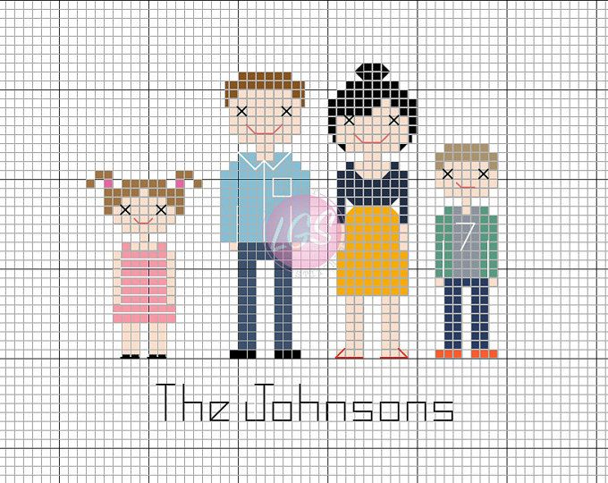 Custom-made Family Cross-stitch Portrait pattern PDF *DIGITAL file* Great for birthday/wedding/christening/new baby/second anniversary gift