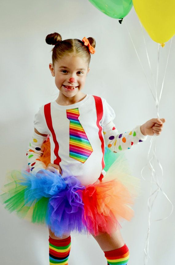 Girls Clown Costume Rainbow Tie And Leg Warmers Shirt or Bodysuit Set Halloween Costume via Etsy