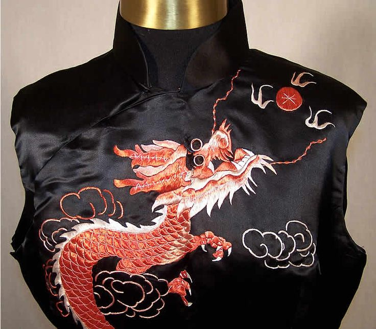 Chinese Cheongsam Silk Embroidered Dragon Dress Detail View